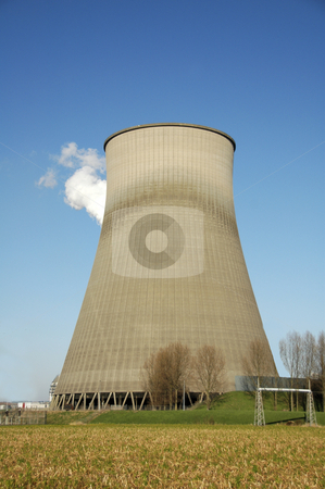 Power station stock photo, Power station for electricity against a blue sky by Claudia Van Dijk