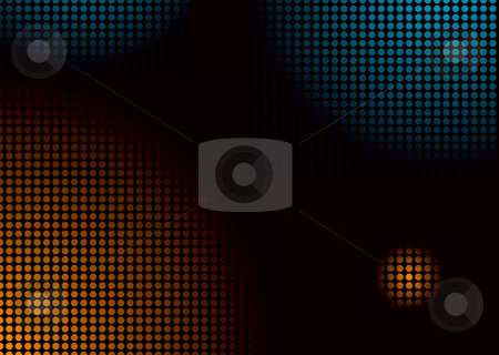 Disco balls large stock photo, Colourful disco inspired background in orange and blue by Michael Travers
