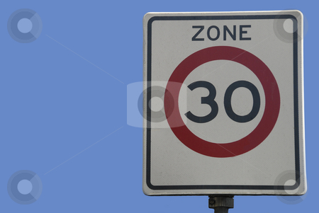 Traffic sign stock photo, Dutch traffic sign, speed limit 30 km/hour by Claudia Van Dijk