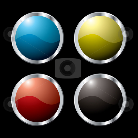 Metal surround stock photo, Collection of four buttons in various colors and a metal surround by Michael Travers