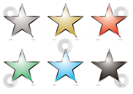 Star buttons stock photo, Six star shapped buttons with a silver bevel by Michael Travers