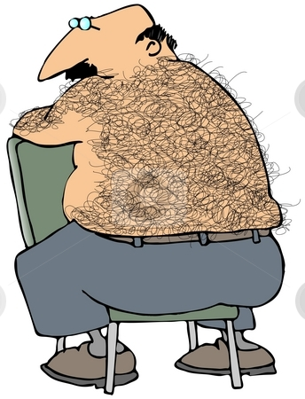 Hairy Back stock photo, This illustration depicts a chubby man with a hairy back sitting on a chair. by Dennis Cox