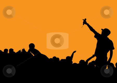 Rapper concert stock photo, Rock concert with singer talking to the crowd on an orange background by Michael Travers