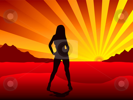 Sunset stripper stock photo, Sexy woman standing on a beach of a tropical island as the sunsets by Michael Travers