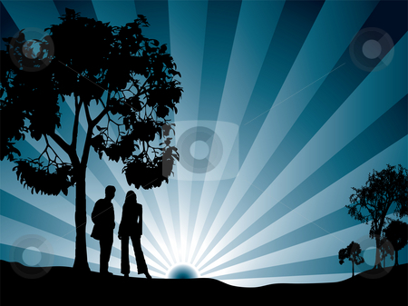 Through the trees stock photo, A couple watching the sun rise surrounded by tree by Michael Travers