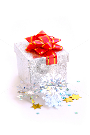 Gift boxe stock photo, Christmas silver gift boxe on white background by Elena Elisseeva