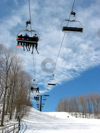 Downhill ski chairlift  stock photo, Downhill ski chairlift on a ski resort on bright sunny day by Elena Elisseeva