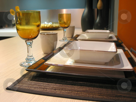 Table setting stock photo, Table setting in a modern kitchen by Elena Elisseeva