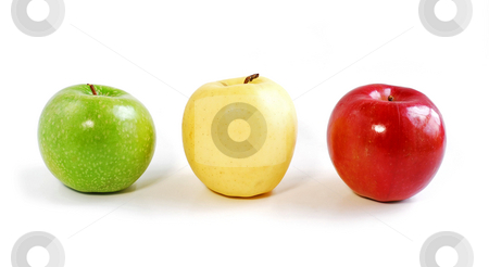 Three apples stock photo, Three apples on white background: green, yellow and red by Elena Elisseeva