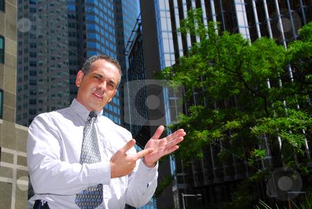 Businessman explain stock photo, Businessman explaining an idea downtown by Elena Elisseeva