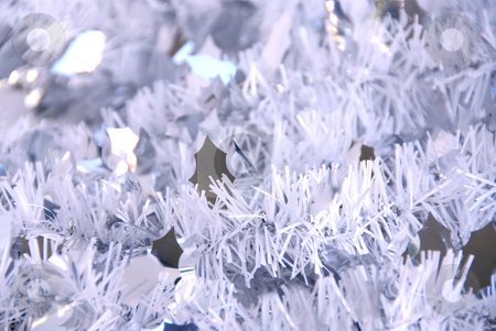 Tinsel background stock photo, Christmas silver tinsel background by Elena Elisseeva