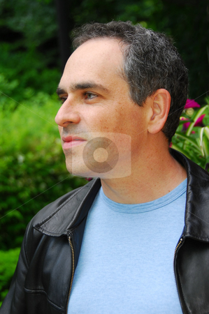 Man portrait outside stock photo, Portrait of a man outside by Elena Elisseeva