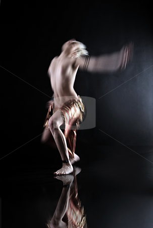 Woman Dancing in the dark stock photo, Model dancer move in a total black set by Luca Mosconi