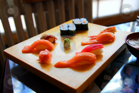Sushi dinner stock photo, Sushi dinner in a japanese restaurant by Elena Elisseeva