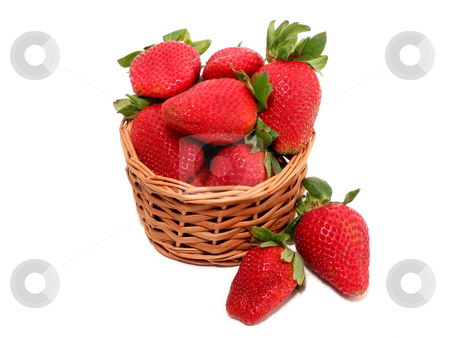 Strawberry basket on white stock photo, Small basket of strawberries isolated on white background by Elena Elisseeva