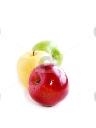 Three apples stock photo, Three apples on white background in perspective: green, yellow and red by Elena Elisseeva