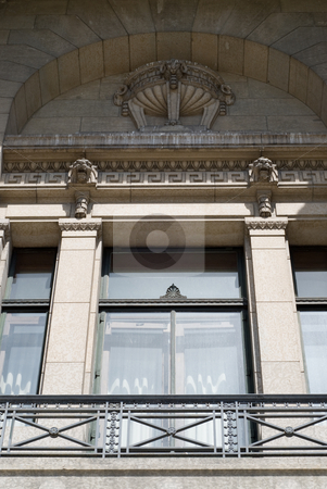 Balcony stock photo, Close-up view of a historic building's balcony by Richard Nelson