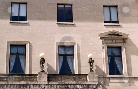 Windows stock photo, Six windows located on the side of a building by Richard Nelson