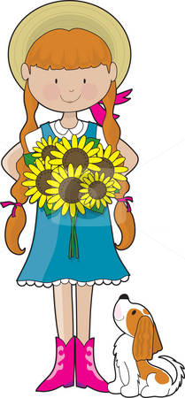 Sunflower Girl stock photo, Young girl dressed in country style clothing, holding a bouquet of sunflowers. Her little dog, a Cavalier King Charles Spaniel, is looking up at her by Maria Bell
