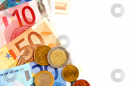 Euro money stock photo, Currency of European union bills and coins, space for copy by Elena Elisseeva