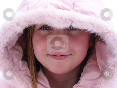 Winter Cutie - portrait of a young girl stock photo, Portrait of a young girl in a hood of fur trimmed pink jacket, outside on the background of fresh white snow by Elena Elisseeva