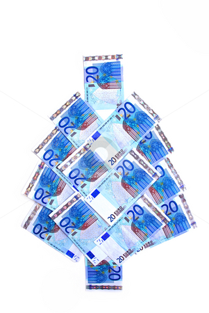 Euro christmas tree stock photo, Twenty euro bills in a christmas tree shape by Elena Elisseeva