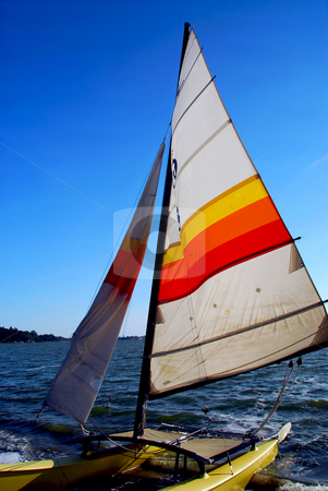 Sailboat  stock photo, Sailing catamaran by Elena Elisseeva
