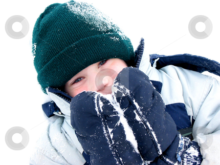 Winter boy fun stock photo, Young boy playing in snow by Elena Elisseeva