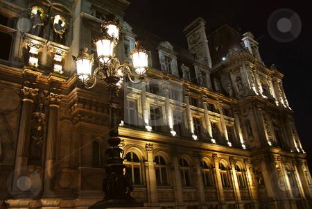 Hotel de Ville stock photo, Hotel de Ville in Paris France at night by Elena Elisseeva