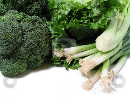 Green vegetables stock photo, Bright green fresh vegetables on white background by Elena Elisseeva
