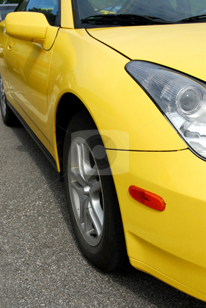 Yellow sports car stock photo, Yellow sports car, front view by Elena Elisseeva