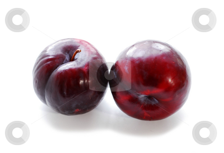 Plums stock photo, Two purple plums on white background by Elena Elisseeva