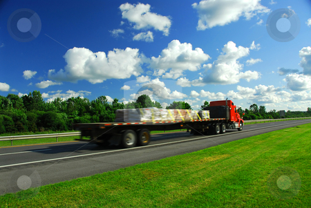 Truck speed road stock photo, Speeding truck on highway, blurred because of motion by Elena Elisseeva