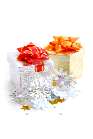 Gift boxes stock photo, Christmas gift boxes on white background by Elena Elisseeva