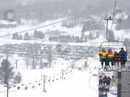 Ski winter resort stock photo, View from the top of a hill at Horseshoe ski resort, Ontario, falling snow by Elena Elisseeva