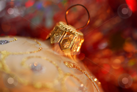 Christmas ornament stock photo, Closeup of golden christmas tree glass ball by Elena Elisseeva