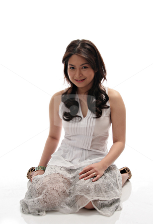 Lady in white background stock photo, Beautiful asian lady isolated on white background by Jonas Marcos San Luis