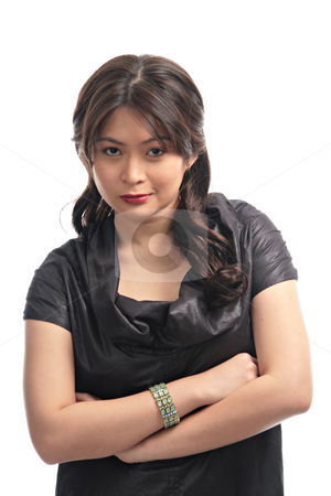 Lady with a mean smile stock photo, Pretty asian lady with a mean smile by Jonas Marcos San Luis