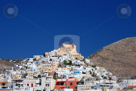 Greek Island Town stock photo, The Catholic area (called Ano Syra) of Ermoupolis town on the top of a hill in Syros island, Greece by Georgios Alexandris