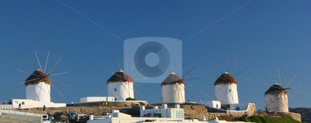 Mykonos Windmills Panoramic stock photo, The row of the Lower Windmills in Mykonos Island, Greece by Georgios Alexandris