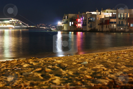 Mykonos by Night stock photo, A night, long exposure, shot of the