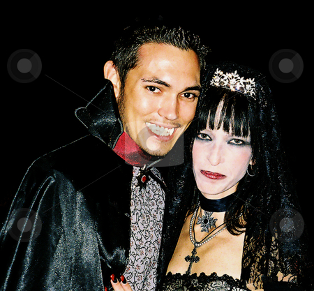 Count and Countess stock photo, Bride and Groom dressed up as Count and Countess Vampires during Halloween wedding by Marburg