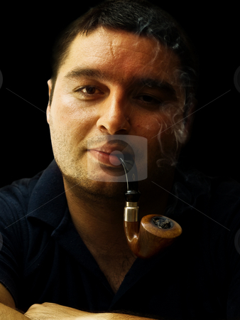 Pipe smoker stock photo, Gentleman smoking pipe portrait relaxing by Adrian Costea