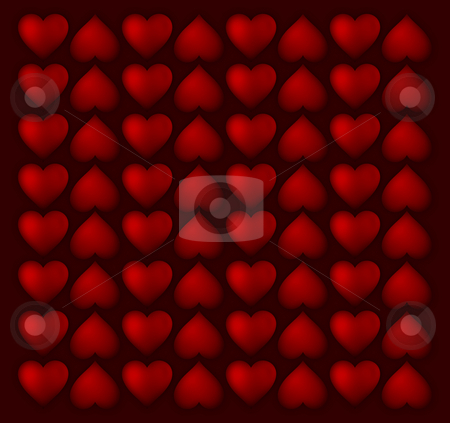Hearts pattern stock photo, Red small hearts pattern on ruby background row by Adrian Costea