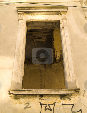 Hollow window stock photo, Deserted house window with ceiling broken by Adrian Costea