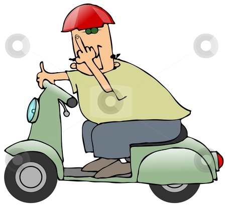 Bird Scooter stock photo, This illustration depicts a man riding a scooter and flipping the bird. by Dennis Cox