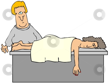 Masseuse stock photo, This illustration depicts a masseuse giving a massage to a woman. by Dennis Cox