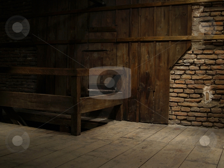 Stone wall stock photo, Stone brick wall texture stairs ancient old attic by Adrian Costea