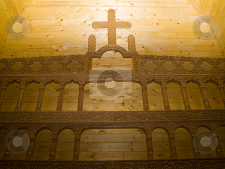 Church wall  stock photo, Church wall sculpture wood cross by Adrian Costea