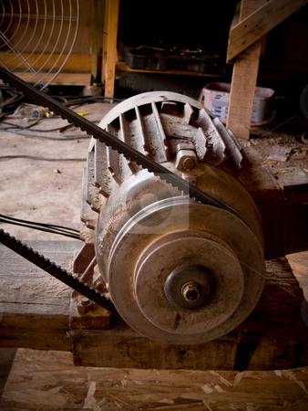 Engine stock photo, Metal engine strap wood workshop belt mechanical by Adrian Costea
